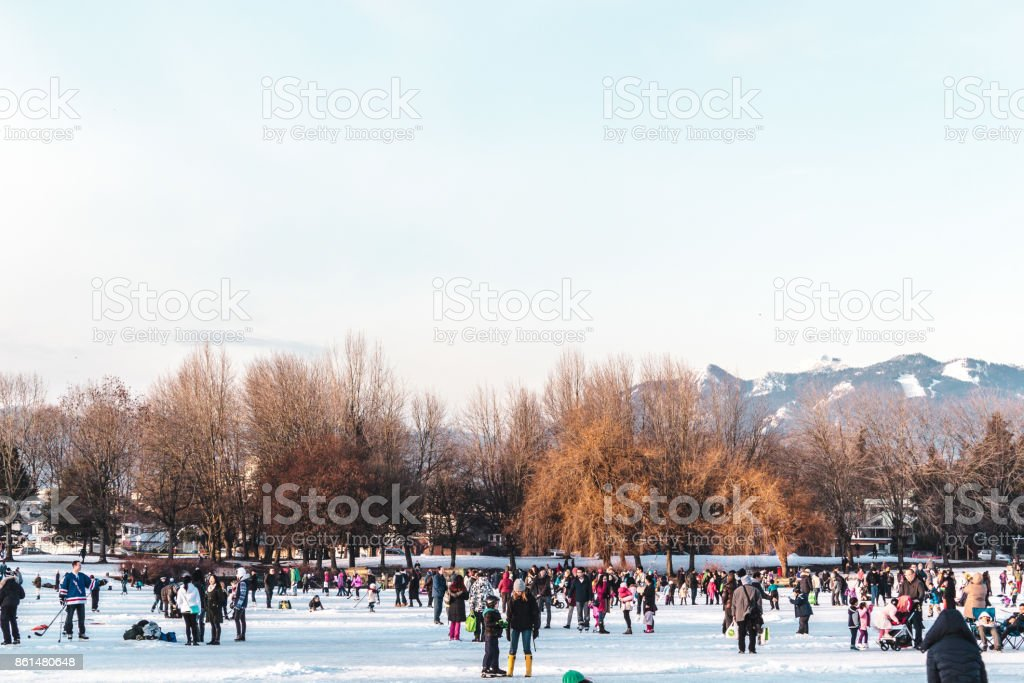 Trout Lake Frozen in Vancouver, BC, Canada stock photo
