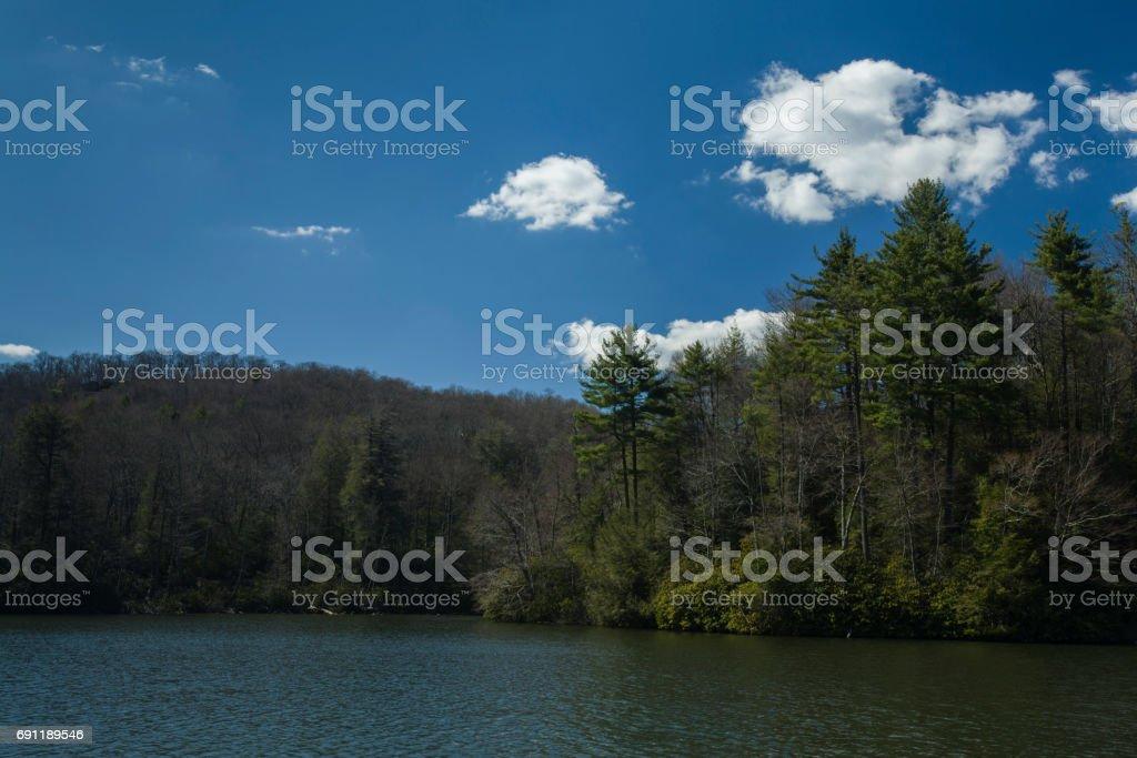 Trout Lake, Moses Cone Mem. Park, BRP, North Carolina stock photo