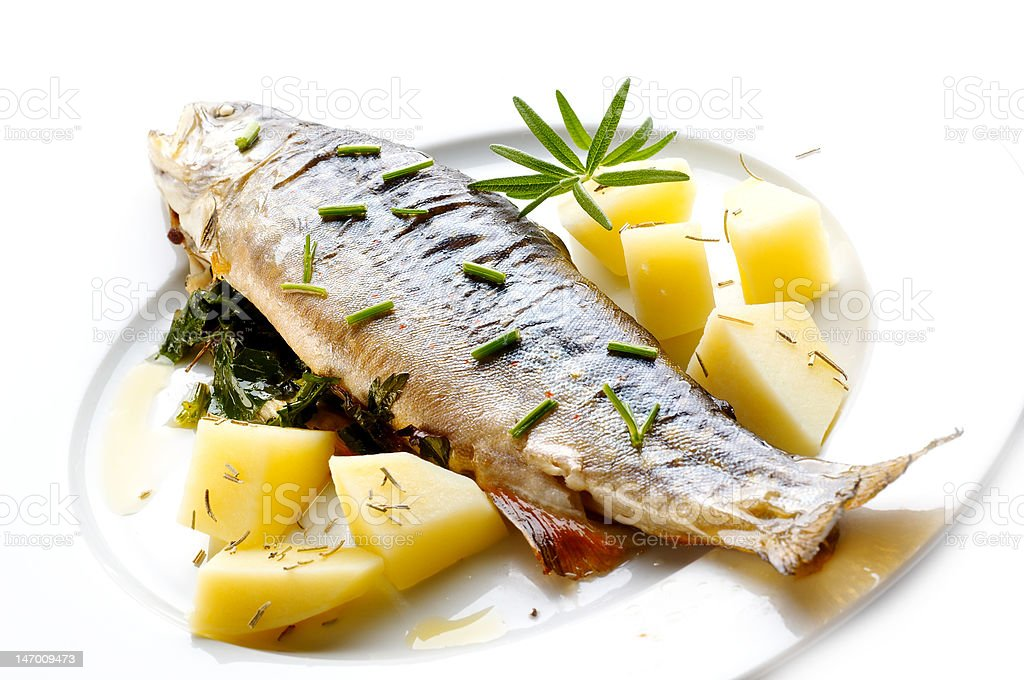 Trout with herbs royalty-free stock photo