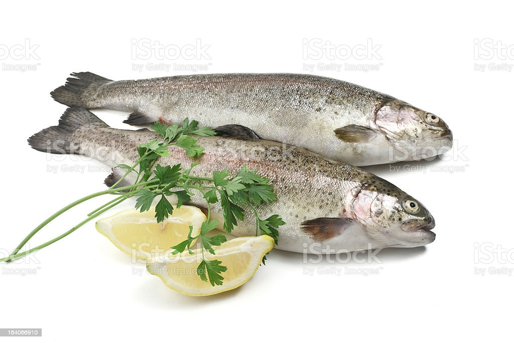 trouts with lemon and parsley royalty-free stock photo