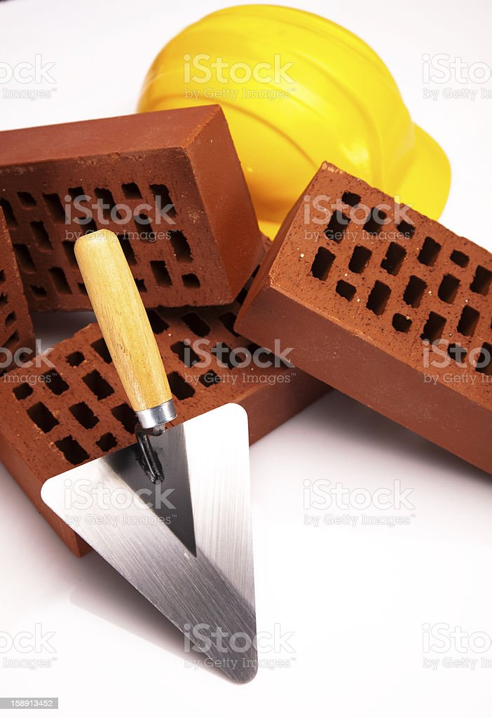 Trowel and bricks royalty-free stock photo
