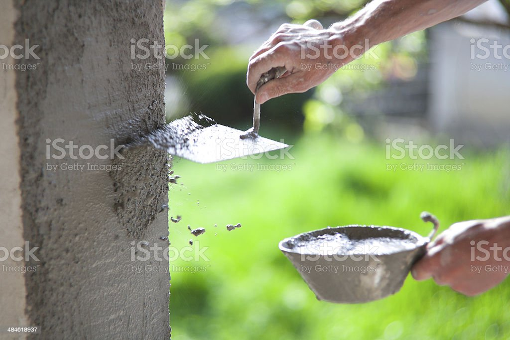 Trowel And Mortar royalty-free stock photo