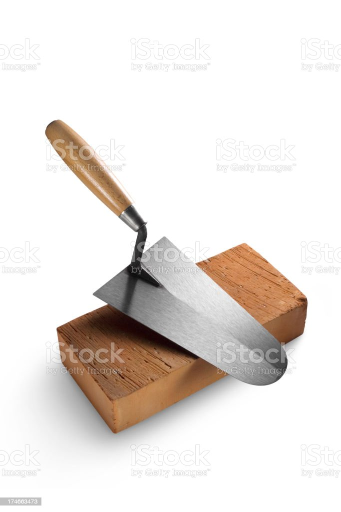Trowel on a brick stock photo