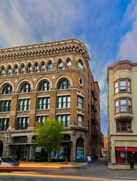 Troy NY USA downtown on a busy Friday night with historic buildings and architecture. stock photo