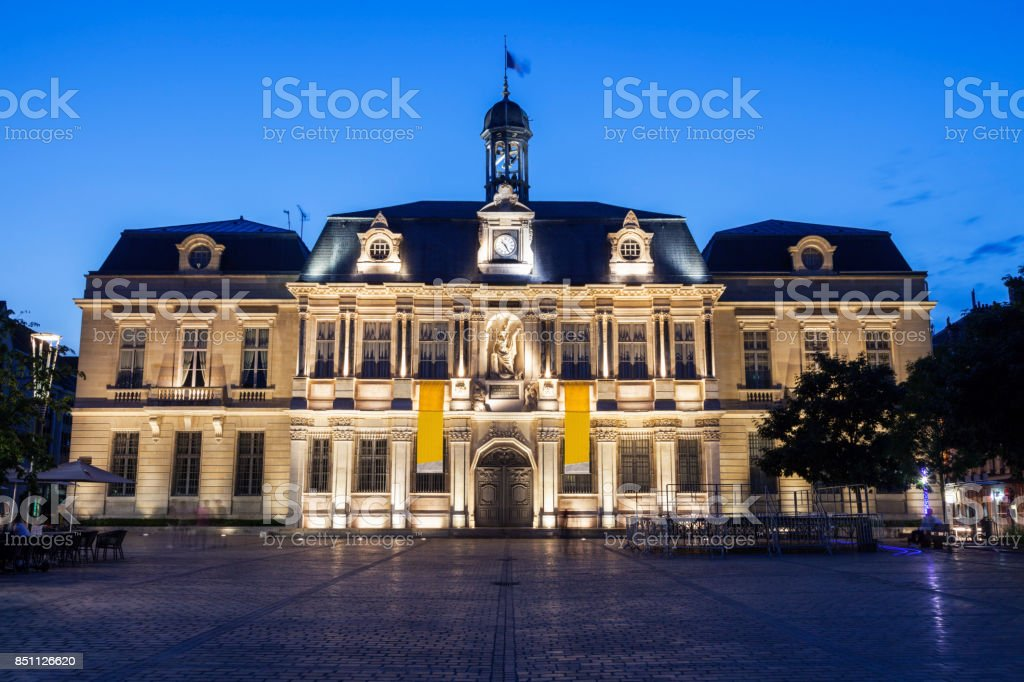 Troyes City Hall at evening stock photo