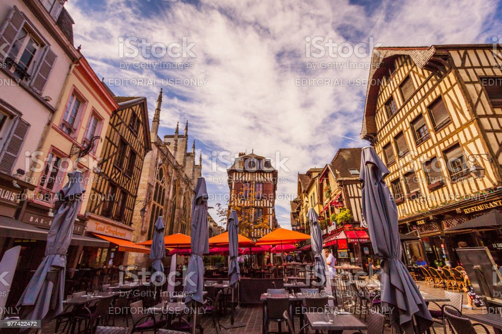 Troyes France and Tudor Architecture stock photo