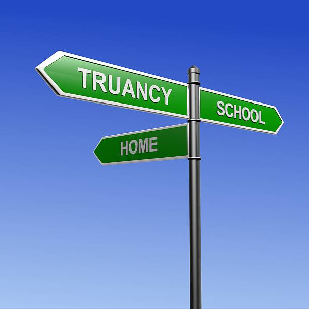 Truancy guidepost Signpost with arrows pointing three directions - towards school, truancy and home. absentee stock pictures, royalty-free photos & images
