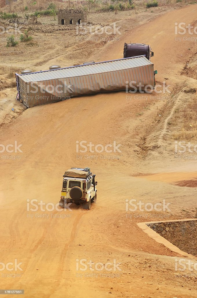 Truck Accident in Africa royalty-free stock photo