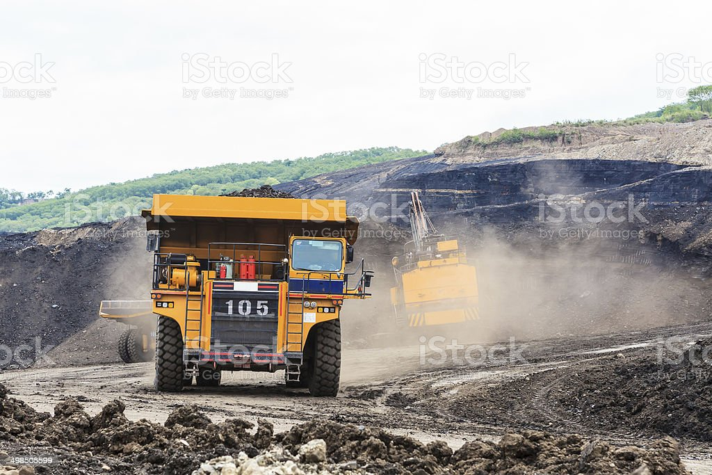 Truck and Electric Shovel in Open Pit stock photo