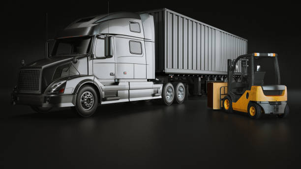 truck and  Folk Lift in the studio room. stock photo