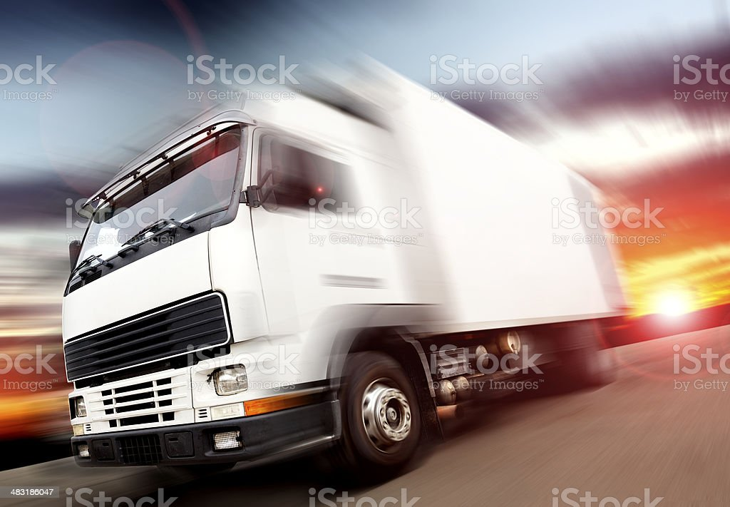 Truck and speed stock photo