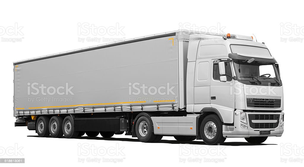 Truck and Trailer (isolated) incl. Shadows stock photo