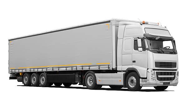 truck and trailer (isolated) incl. shadows - skåne bildbanksfoton och bilder