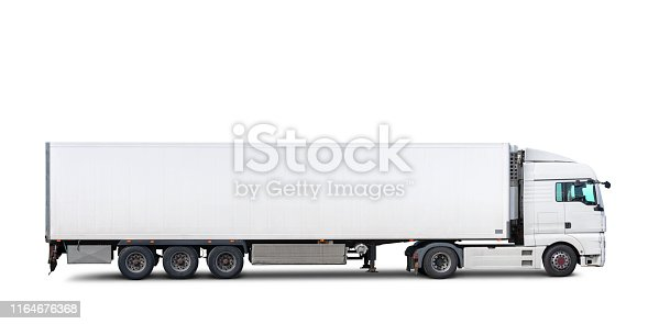 A semi-truck with trailer isolated on white, includes clipping path.