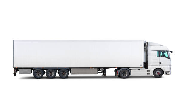 Truck and trailer isolated on white background A semi-truck with trailer isolated on white, includes clipping path. side view stock pictures, royalty-free photos & images