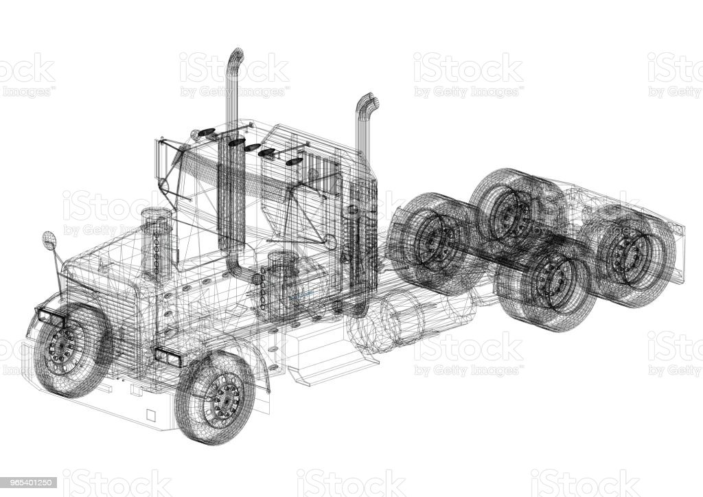Truck Architect blueprint zbiór zdjęć royalty-free