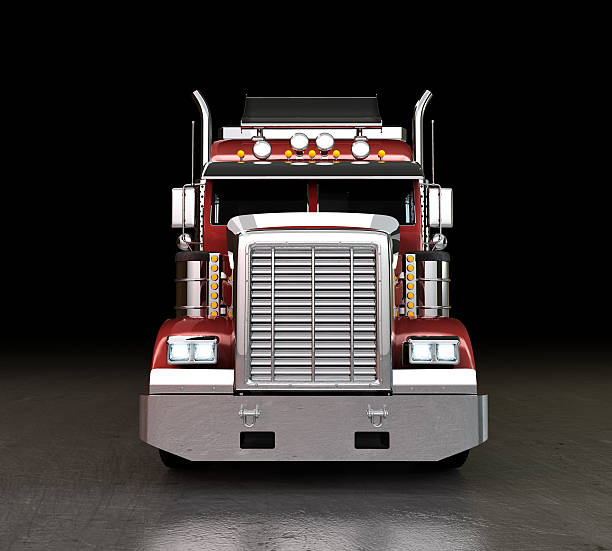 truck at night - front view stock photos and pictures