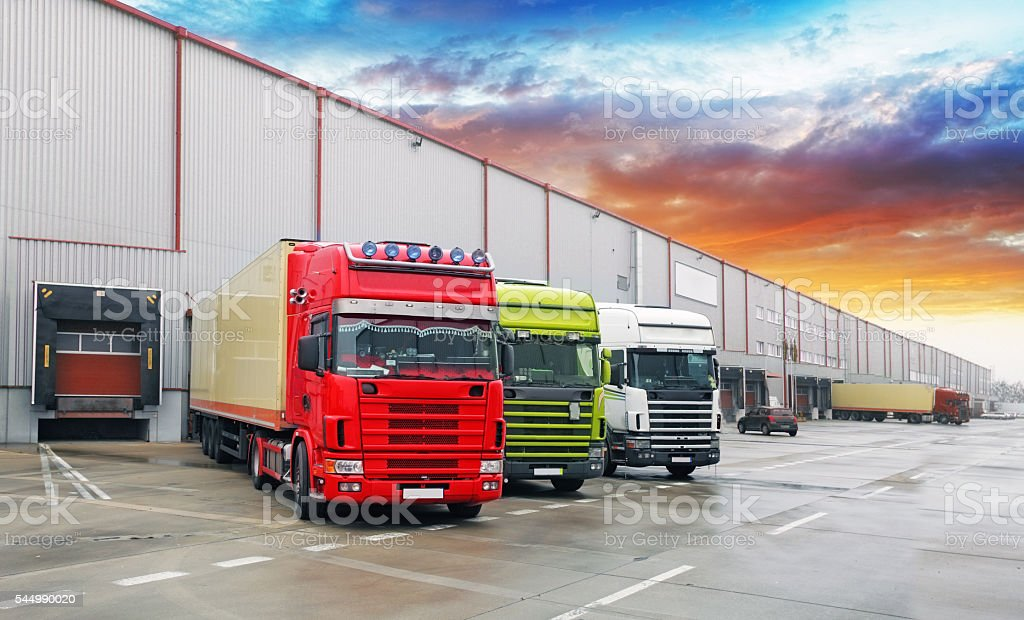 Truck at warehouse, Freight Transport stock photo