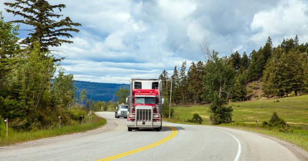 Truck at Williams Lake in British Columbia Canada stock photo