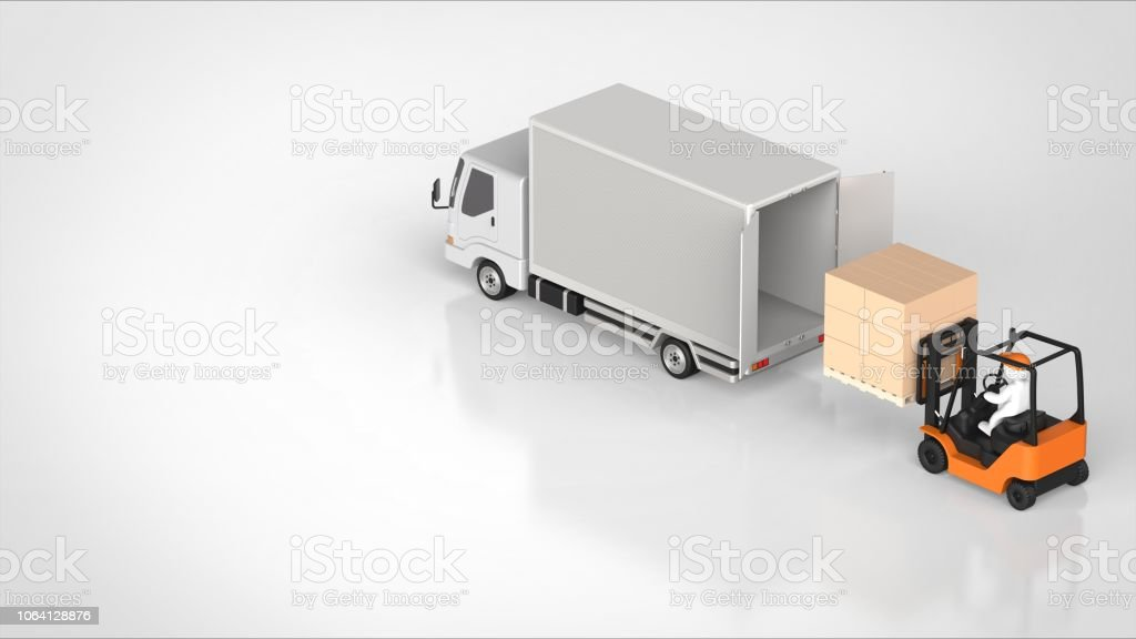 Truck Back Side And Forklift Angled Right 3d Rendering Stock