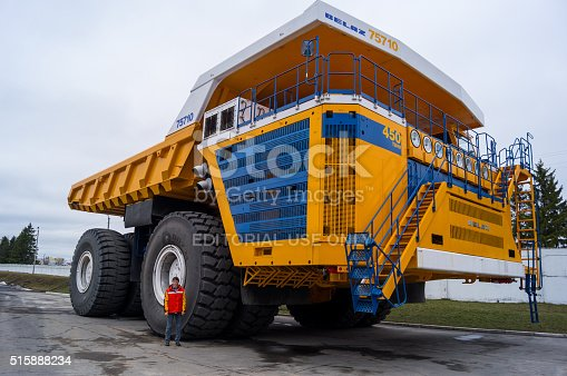 istock Truck BelAZ with man for scale 515888234