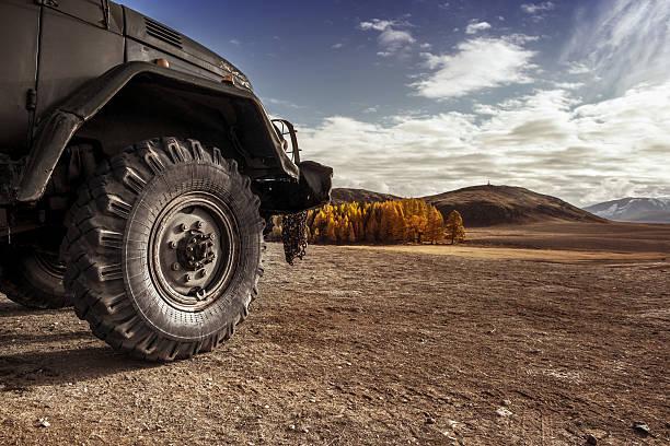 truck car wheel offroad concept - altai nature reserve stockfoto's en -beelden