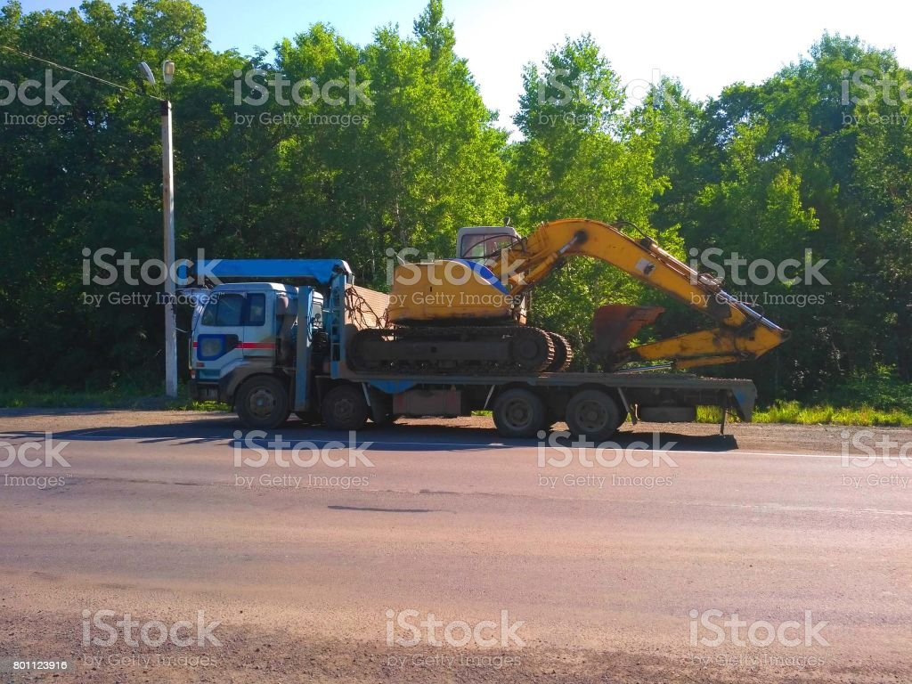 Truck carrying goods stock photo