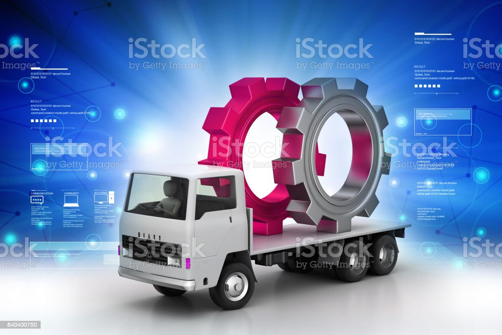 Truck carrying the gear wheel stock photo
