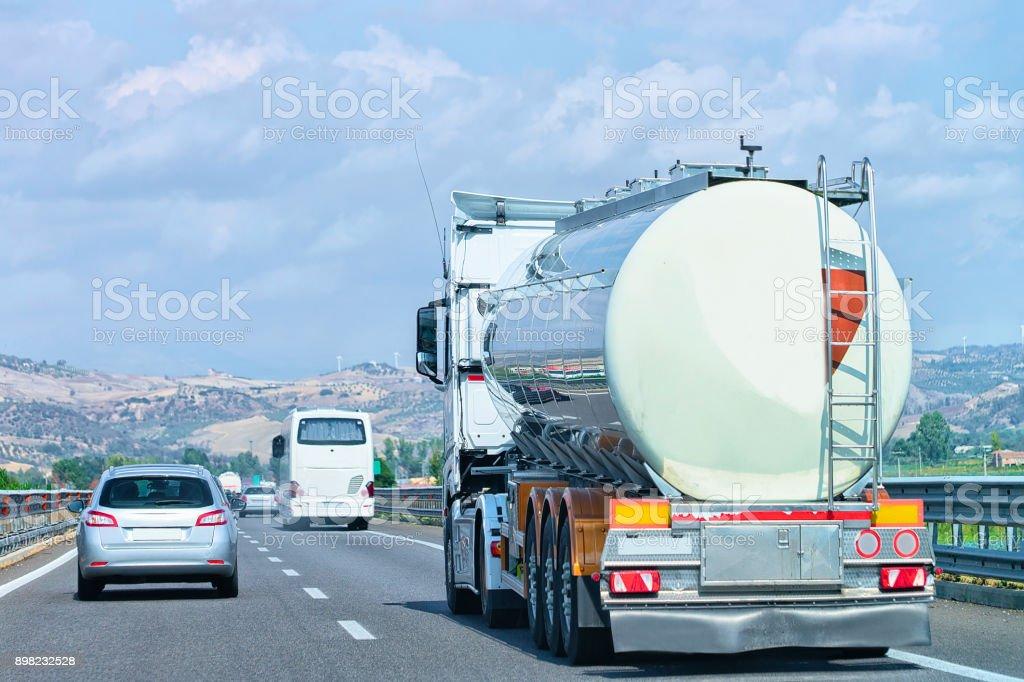 Truck cistern on road at Amalfi coast stock photo