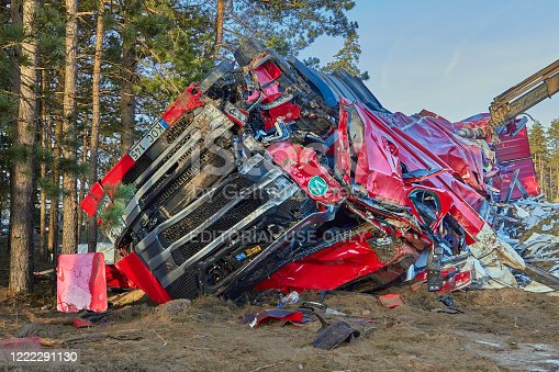 January 17, 2020, Cekule, Latvia: Truck collision with tree at the scene of an accident on a road