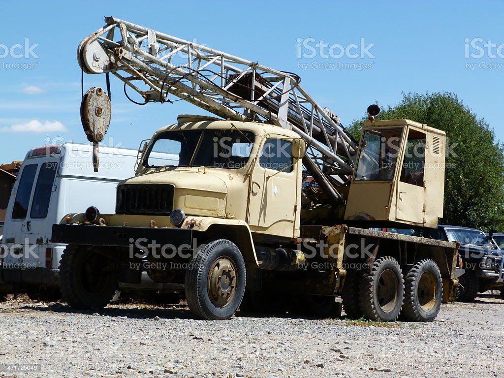 Truck crane scrapyard royalty-free stock photo