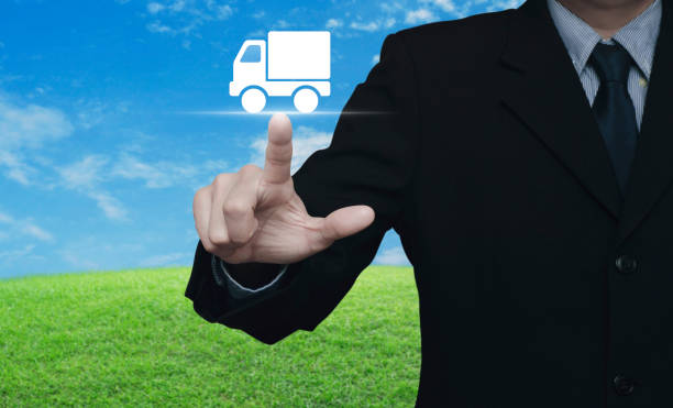 Truck delivery service concept stock photo