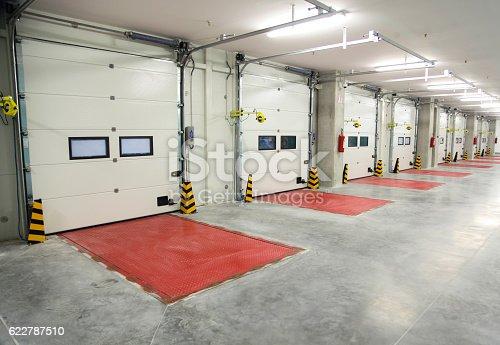 Truck docking bay inside in factory