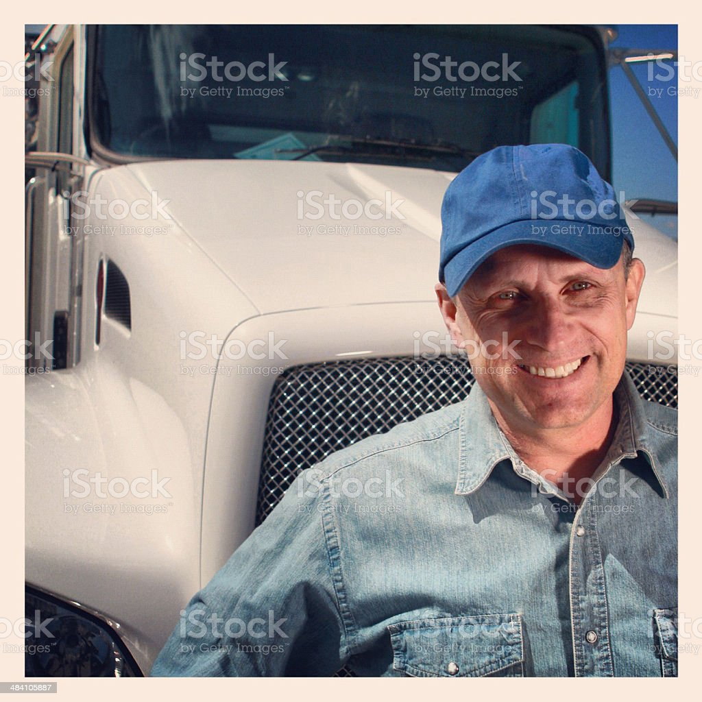 Truck Driver and Semi royalty-free stock photo
