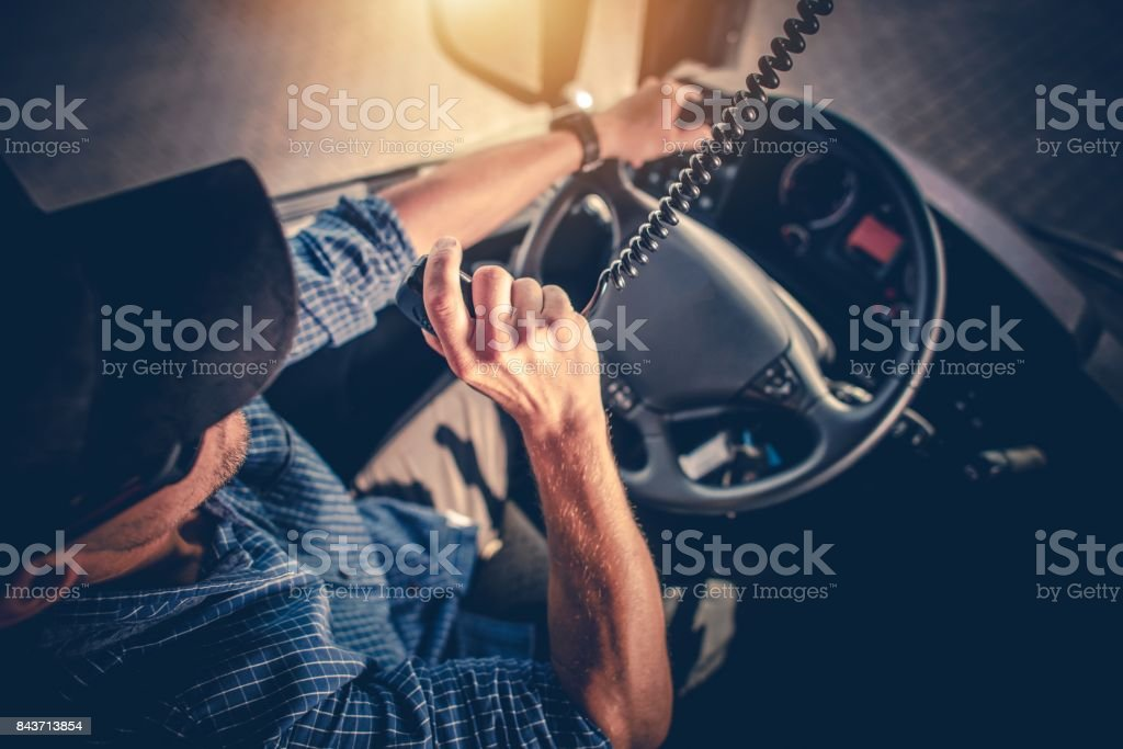 Truck Driver CB Radio Talk stock photo