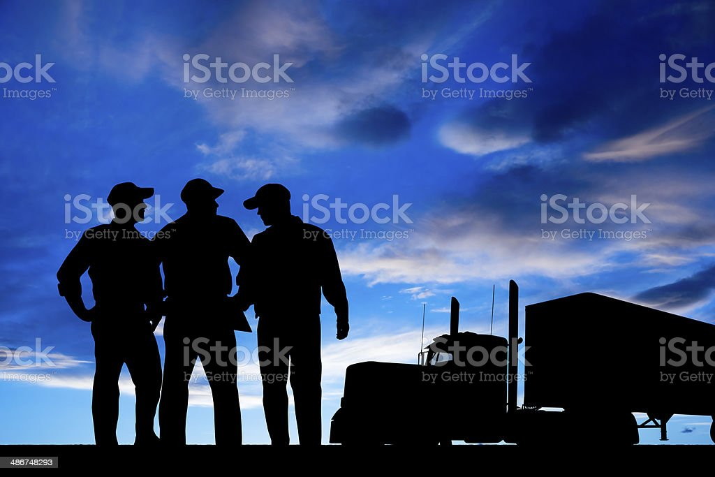 Truck Driver Cooperation stock photo