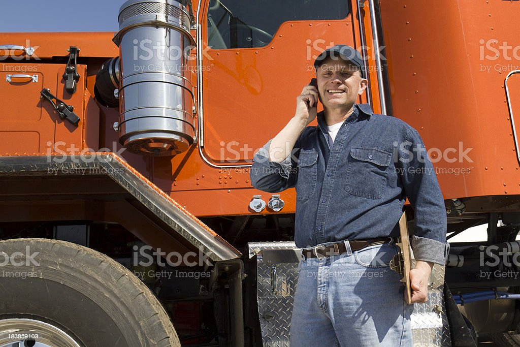 Truck Driver on a Cell royalty-free stock photo