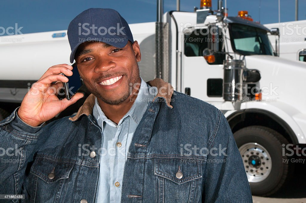 Truck Driver on the Phone stock photo