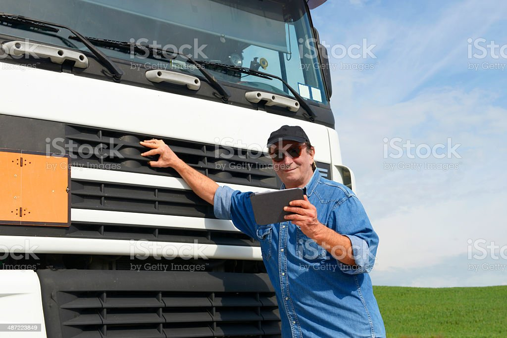 Truck Driver W Tablet stock photo