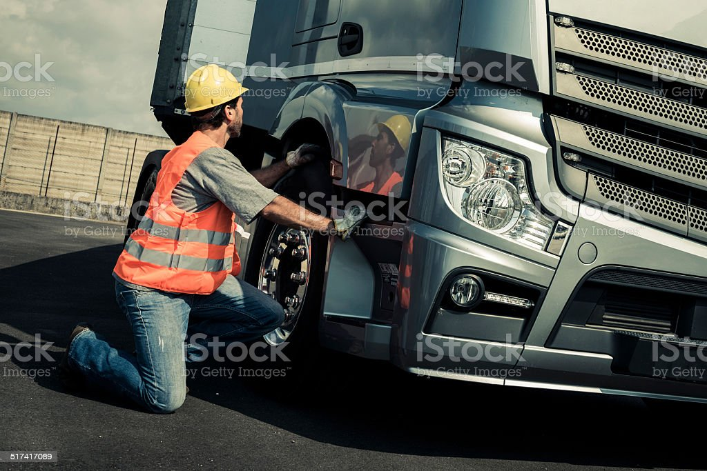 Truck Driver Working In Truck stock photo