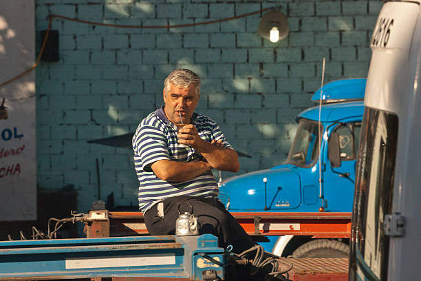 Truck Driver Yerba Mate Break Buenos Aires, Argentina – February 28, 2016: A worker enjoys a morning mate on Avenue Ramon San Castillo, sitting on the trailer of his truck with his mate cup, straw and pot of hot water for refreshing the brew.  He is taking a break while waiting for a load to haul from the port of Buenos Aires. michael stephen wills south america stock pictures, royalty-free photos & images