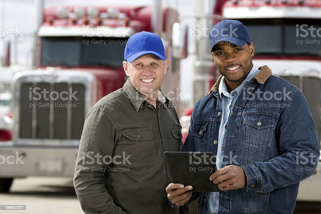 Truck Drivers and Computer stock photo