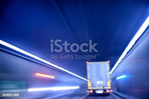 istock Truck driving inside the tunnel 646951088