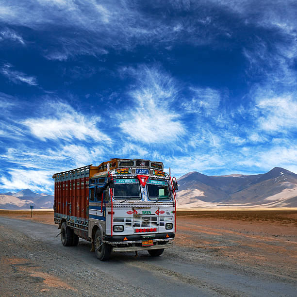 Truck driving on Manali - Leh National highway, India stock photo
