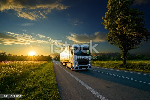 Truck driving on the asphalt road in rural landscape at the golden sunset