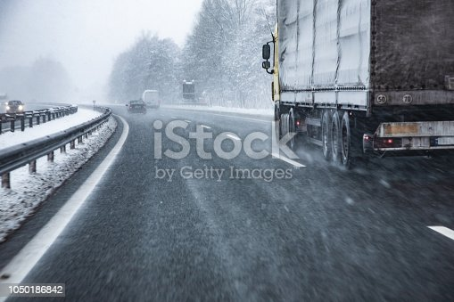 Truck Driving on Wet and Slippery Highway in Winter.
