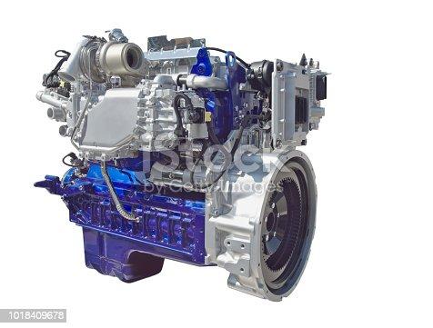 Big truck engine isolated on white background.