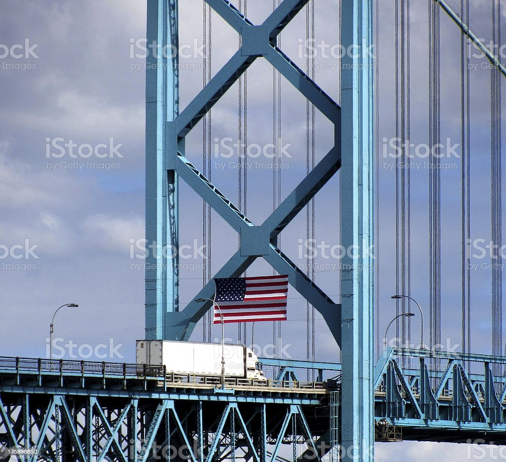 Truck entering USA stock photo