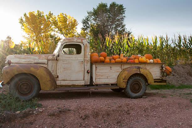 lkw mit kürbisse - alte wagen stock-fotos und bilder