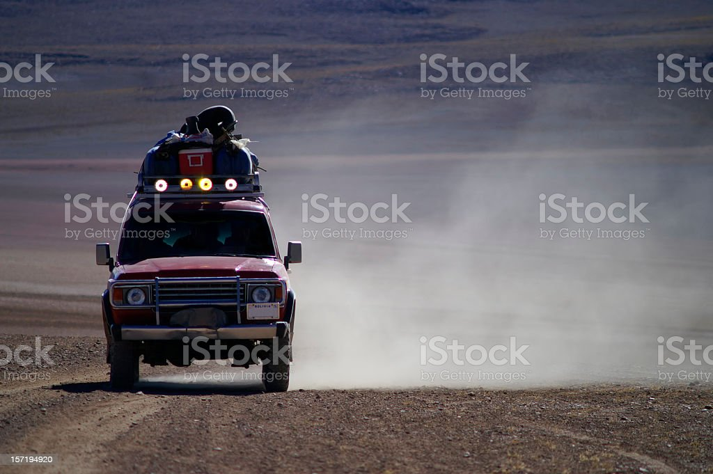 Truck going fast in an off-road excursion stock photo